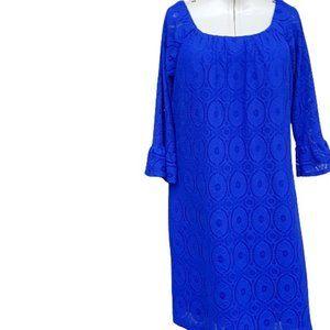 Royal Blue Lace Eyelet Midi Dress